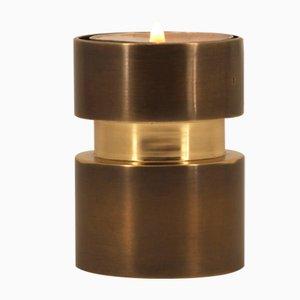 Reversibler Kerzenhalter aus patiniertem Messing für Taper & Tealight Candles von Alguacil & Perkoff Ltd, 2018