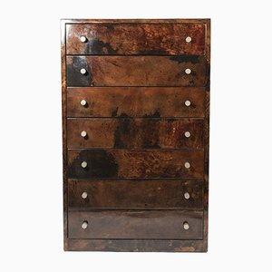 Bufet de pergamino barnizado y madera de Aldo Tura, años 70