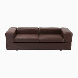 Vintage 711 Brown Leather Sofa by Tito Agnoli for Cinova, 1970s