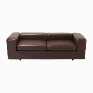 Vintage 711 Brown Leather Sofa by Tito Agnoli for Cinova, 1970s