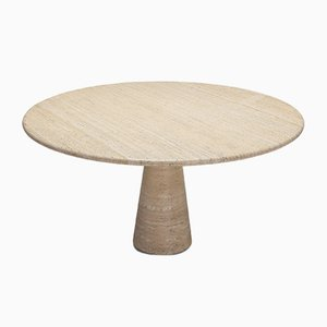 Vintage Round Travertine Dining Table by Angelo Mangiarotti