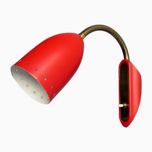 Lámpara de pared ajustable de metal rojo y dorado, años 50