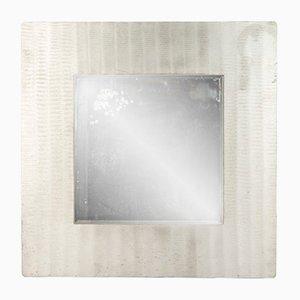 Espejo de pared vintage de aluminio grabado de Lorenzo Burchiellaro, años 70