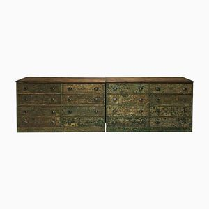 Industrial English Scraped Pine Sideboards, 1920s, Set of 2