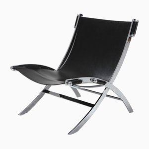 Vintage Chrome & Black Leather Lounge Chair by Paul Tuttle for Flexform