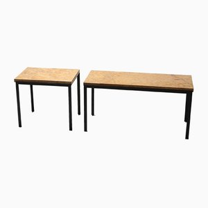 Vintage Marble & Black Steel Side Tables by Florence Knoll Bassett, Set of 2