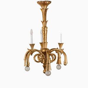 Lámpara de araña vintage de madera tallada, años 30
