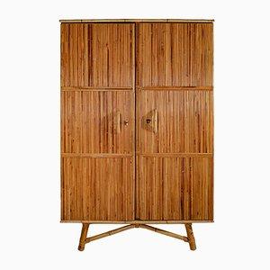 Vintage Kleiderschrank aus Rattan & Holz von Adrien Audoux & Frida Minet