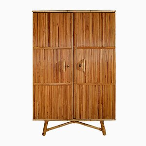 Vintage Rattan and Wood Wardrobe by Adrien Audoux & Frida Minet