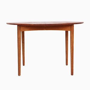 Round Extendable Teak & Oak Dining Table, 1950s
