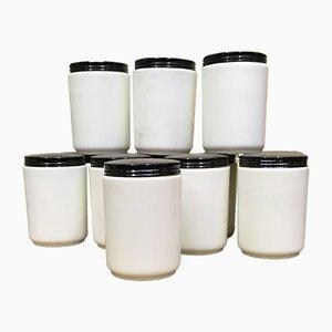 Vasetti da farmacia vintage in vetro opalino, set di 12
