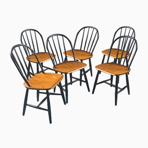 Black Teak Dining Chairs, 1950s, Set of 6