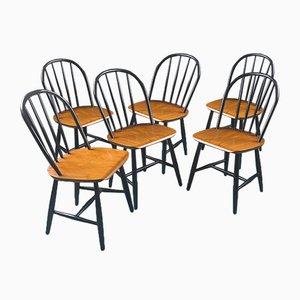 Schwarze Esszimmerstühle aus Teak, 1950er, 6er Set