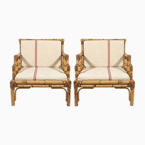 Französische Mid-Century Sessel aus Bambus, 1960er, 2er Set