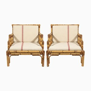 Mid-Century French Bamboo Armchairs, 1960s, Set of 2