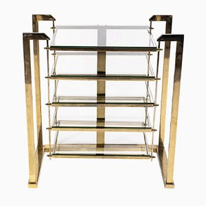 Brass and Glass Shelving Unit, 1970s