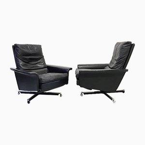 Chaises Inclinables Mid-Century en Cuir Noir, 1960s, Set de 2