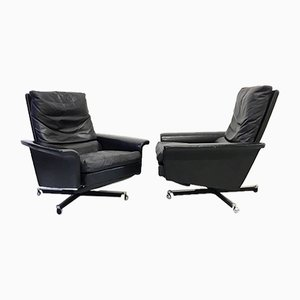 Mid-Century Black Leather Reclining Chairs, 1960s, Set of 2