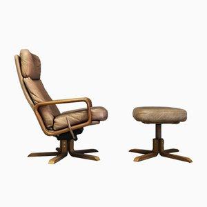 Dänischer Vintage Sessel aus Teak & Leder mit Fußhocker von Dyrlund