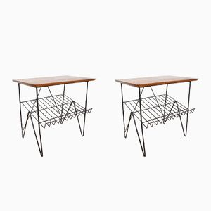 Mid-Century Side Tables with Magazine Racks, 1960s, Set of 2