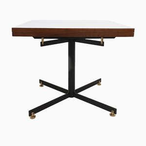Italian Extendable Teak & White Formica Dining Table with Metal Pedestal, 1950s