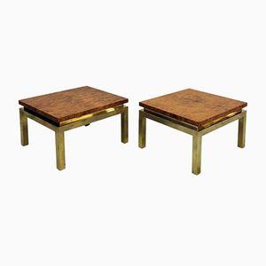 Tables d'Appoint en Loupe de Noyer & en Laiton par Guy Lefevre pour Maison Jansen, France, 1970s, Set de 2
