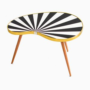 Vintage Black & White Striped Kidney Table