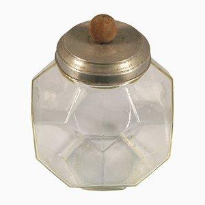 Vaso Art Déco vintage in vetro e alluminio con manico sferico in legno