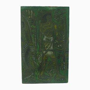 Panel Guerrier brutalista de madera esculpida de Christophe Jehan, años 90