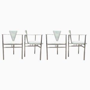 Vintage Sessel auf Dreibein von Belgo Chrom, 1980er, 4er Set