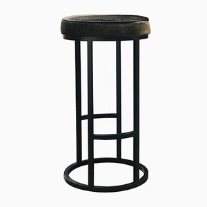 Powder-Coated Steel & Leather Diana Bar Stool by Casa Botelho