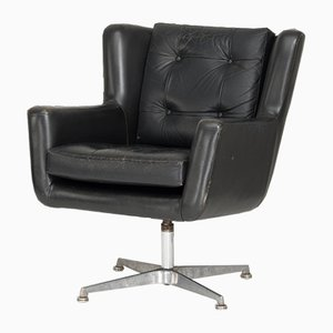Vintage Danish Black Leather Swivel Chair by Skjold Sorensen