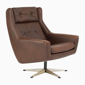 Vintage Danish Siesta Brown Leather Swivel Chair from Erhardsen & Andersen (Eran)