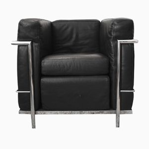 LC2 Black Leather & Chromed Club Chair by Le Corbusier, 1970s