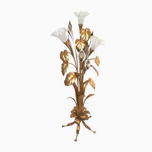 Lámpara de pie Calla vintage dorada de Hans Kögl, años 60