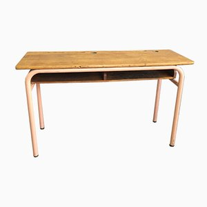 Vintage Wood & Metal School Desk, 1970s