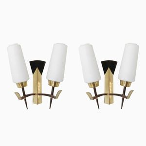 Vintage French Opaline Glass & Brass Sconces, 1950s, Set of 2