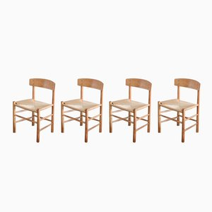 Vintage Oak J39 Dining Chairs by Børge Mogensen for FDB Mobler, Set of 4