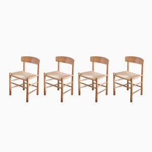 Vintage Oak J39 Dining Chairs by Børge Mogensen for FDB Mobler, Set of 4
