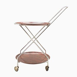 Folding Chrome & Rosewood Serving Bar Cart from PK, 1960s