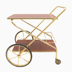 Vintage Hollywood Regency Gold-Colored Mahogany Trolley, 1960s