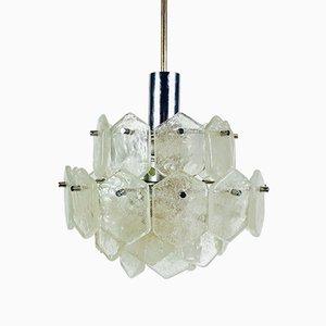 Lámpara de araña de cristal de hielo de J.T. Kalmar para Kalmar, años 60