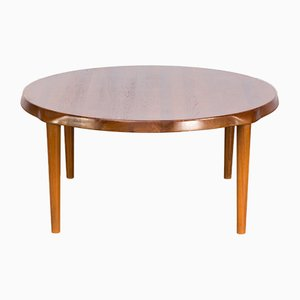 Mesa de centro redonda de teca de John Boné para Mikael Laursen, años 60