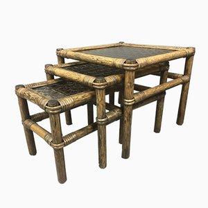 Tables Gigognes Vintage en Bambou avec Verre Coloré, 1970s