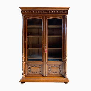 Antique No. 3 Solid Walnut Bookcase & Vitrine by Charles Delaunay