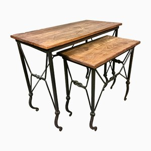 Vintage French Wrought Iron Nesting Side Tables with Walnut Tops