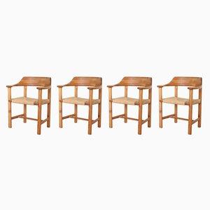 Vintage Esszimmerstühle aus massivem Pinienholz & Papierkordel von Rainer Daumillerm, 4er Set