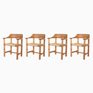 Vintage Solid Pinewood & Papercord Dining Chairs by Rainer Daumillerm, Set of 4