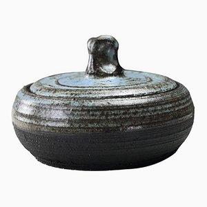 Plato danés vintage de cerámica azul con tapa, años 70