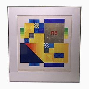 Nemi Constructivist Lithograph by Karl Åge Riget, 1987